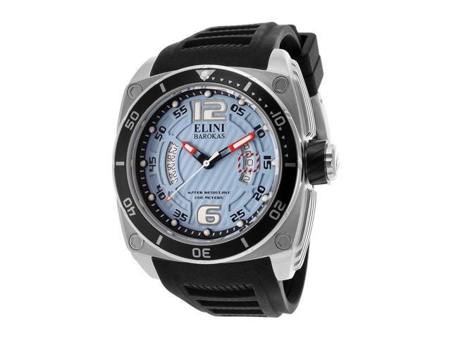 Elini Barokas 10013-012-Bb Commander Black Silicone Light Blue Textured Dial Ss Watch