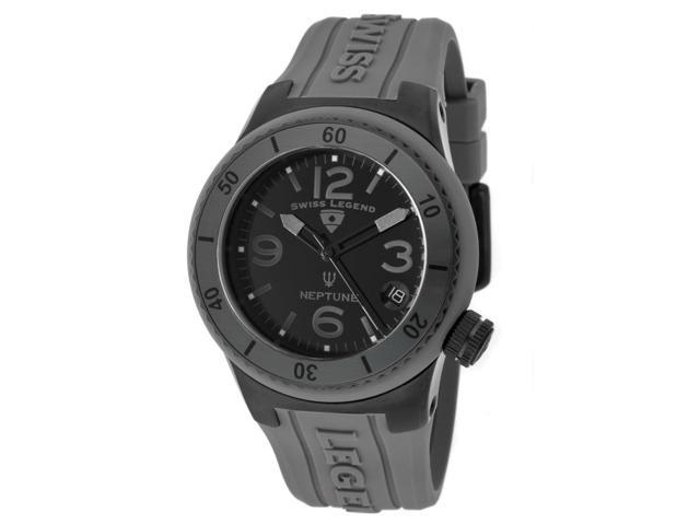 Swiss Legend 11840P-Bb-01-Gry Neptune (40 Mm) Grey Silicone Black Dial Watch