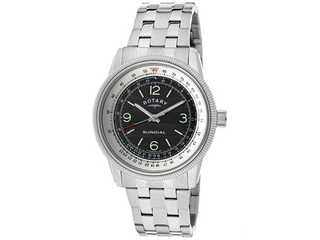 Rotary Gb00200-Sp-19 Men's Sundial Stainless Steel Black Dial Ss Watch