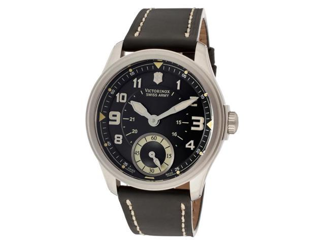 Swiss Army Men's Infantry Vintage Mechanical Black Dial Black Leather