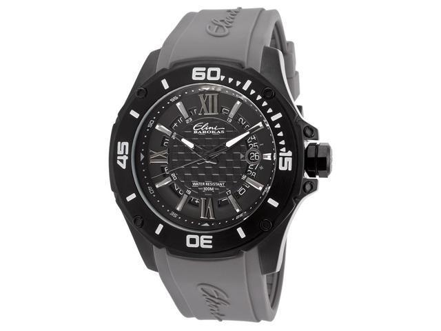 Elini Barokas 10196-Bb-01-Gry Artisan Grey Silicone Black Textured Dial Watch