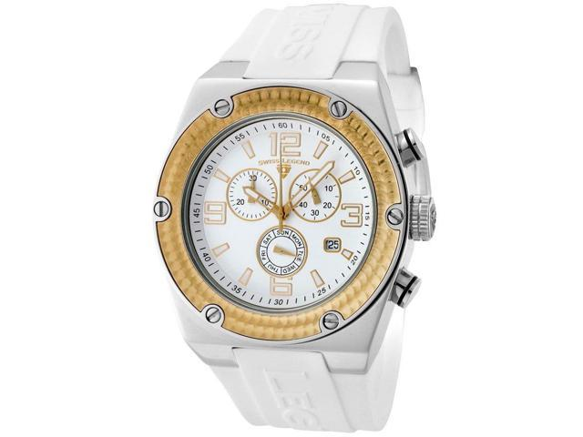 Swiss Legend 30025-02-Gb Throttle Chrono White Silicone And Dial Gold-Tone Bezel Silver-Tone Case Watch