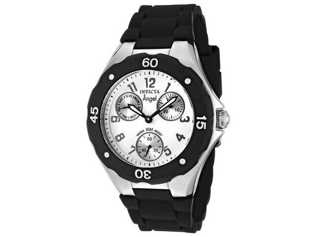 Invicta 0733 Women's Angel Chrono Black Polyurethane White Dial Stainless Steel Watch