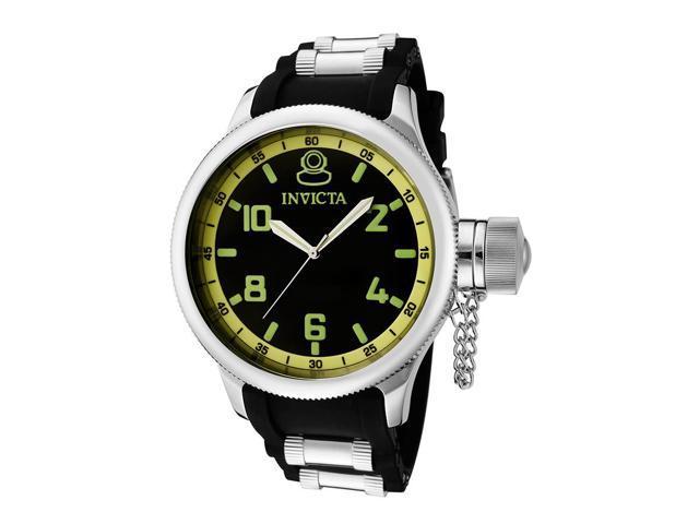 Invicta Men's Russian Diver Black Dial Black Polyurethane