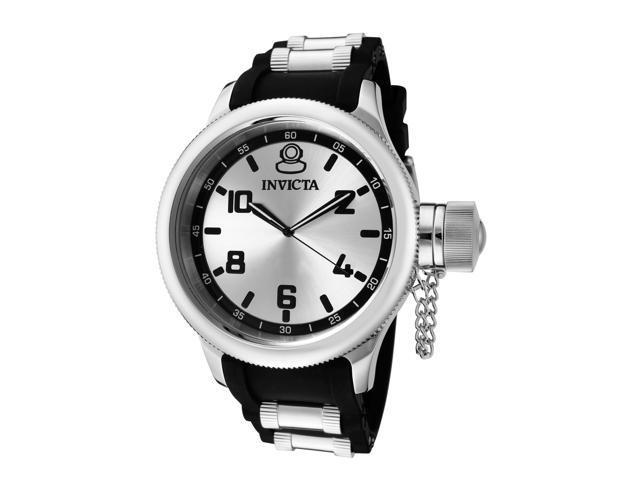 Invicta Men's Russian Diver Silver Dial Black Polyurethane