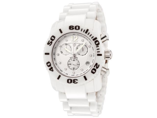 WISS LEGEND Women's Commander White Diamond (0.064 ctw) Chronograph White High G