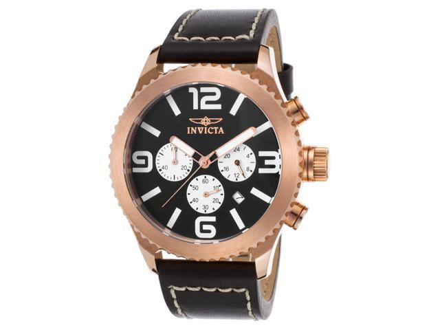 Invicta 1429 Men's Specialty Chrono Black Genuine Leather Black Dial Rose 18K Gp Ss Watch