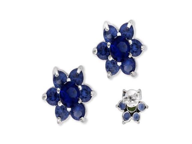 Silver Round C.Z. Sapphire Peridot Center Flower Stud Earrings