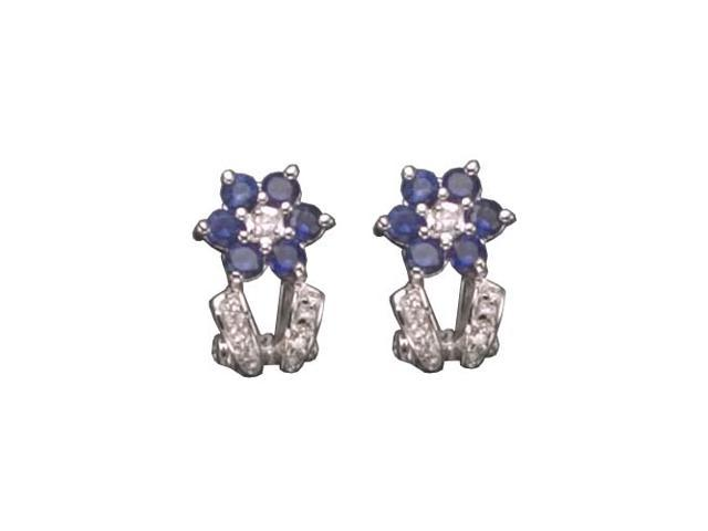 C.Z. And Sapphire Clip Post Rhodium Plated (.925) S/S Earrings