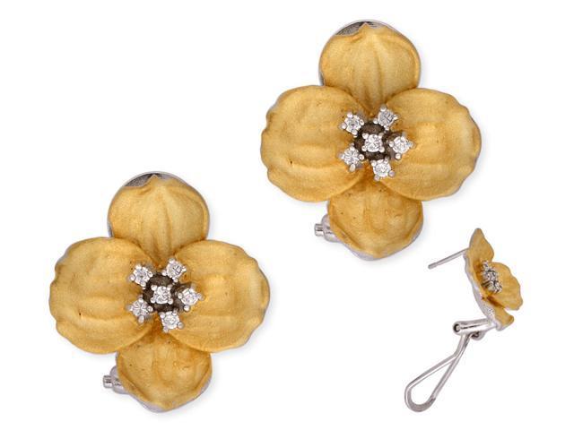 C.Z. Mate Vermeil Plated Flower Shape (.925) S/S Earrings