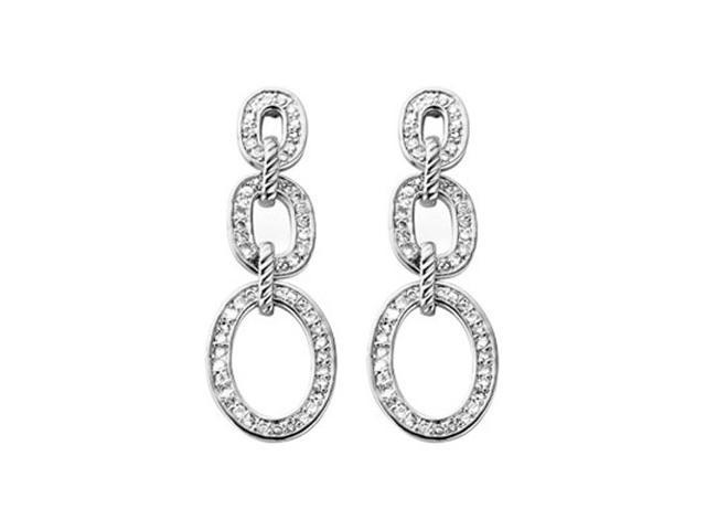 C.Z. (.925) S/S Straight Rhodium Plated Earrings