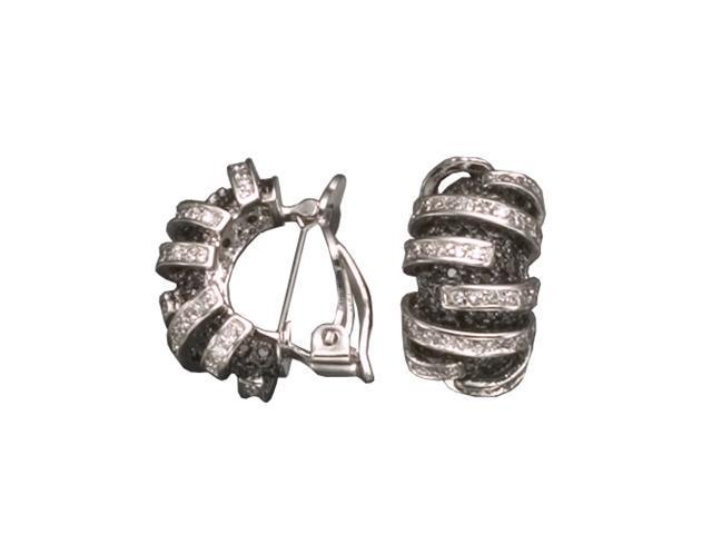 C.Z. And Black Rhodium Plated (.925) S/S Earrings