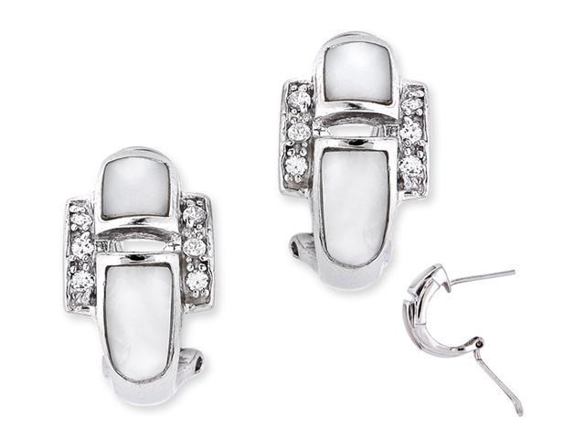 White Mother-Of-Pearl C.Z. Diamond S/S Clip With Post Earrings