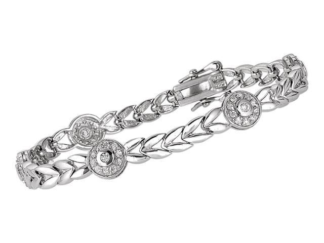 C.Z Corona Tennis (.925) Sterling Silver Bracelet