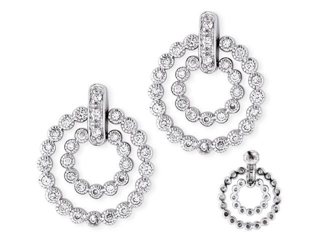 C.Z. Double Circle Bubble Style Pave Setting S/S Earrings