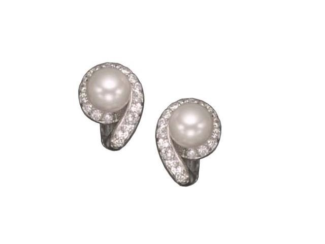C.Z. And Pear Rhodium Plated (.925) S/S Earrings