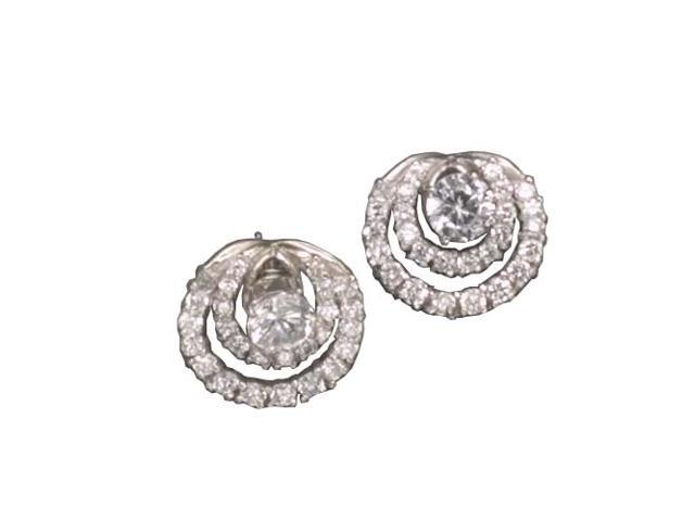 C.Z. Jacket With Stud Rhodium Plated (.925) S/S Earrings
