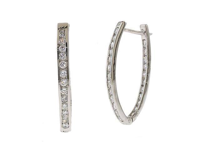 Wedding C.Z. Diamond Silver Hoop Earrings