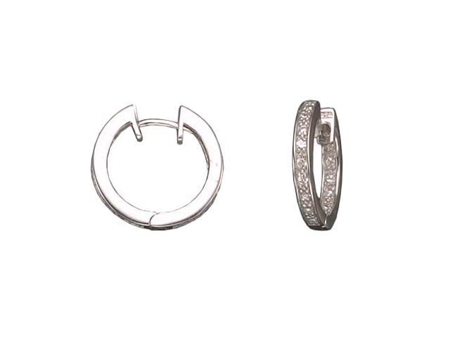 C.Z. Small Inside Out Hoop Rhodium Plated (.925) S/S Earrings
