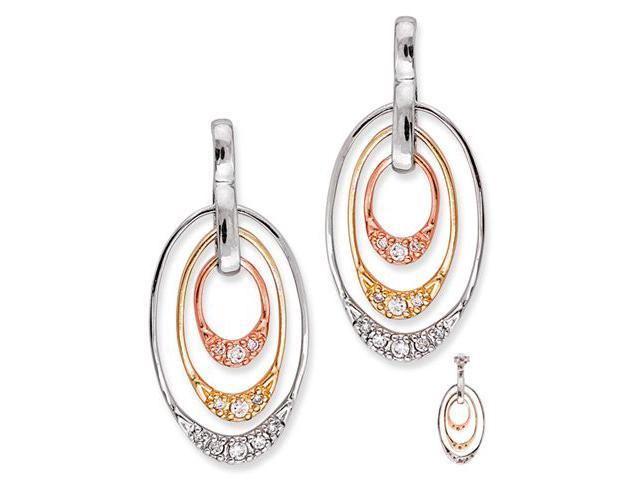Oval Yellow Rose White Gold Plated C.Z. Diamond Drop Earrings