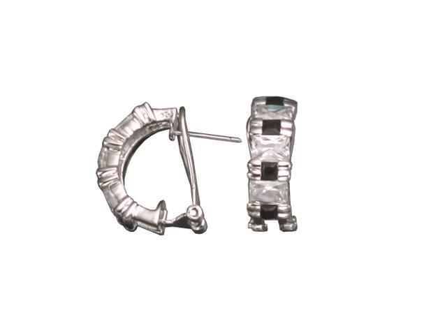 C.Z. Baguette And Black Rhodium Plated (.925) S/S Earrings