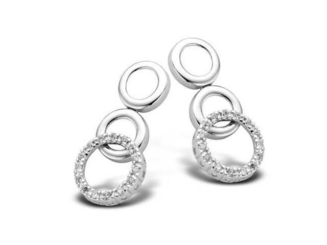 Polished .925 S/S C.Z. Diamond Circle Drop Earrings