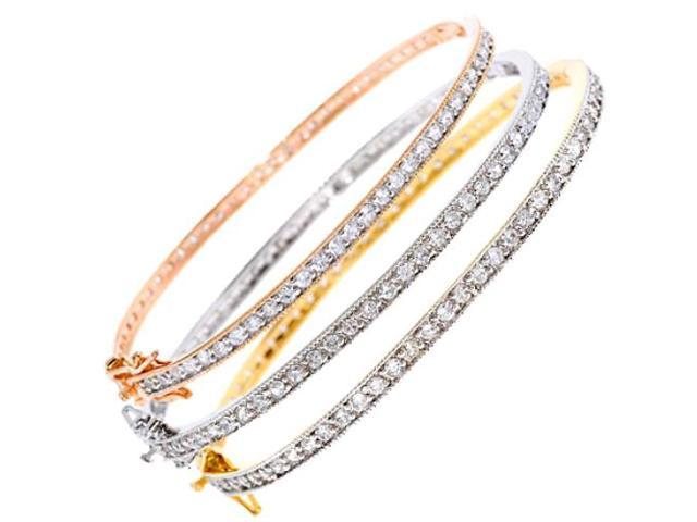 Sterling Silver Vermeil, Rose Gold, Rhodium Plated Cz Pave Bangle Set