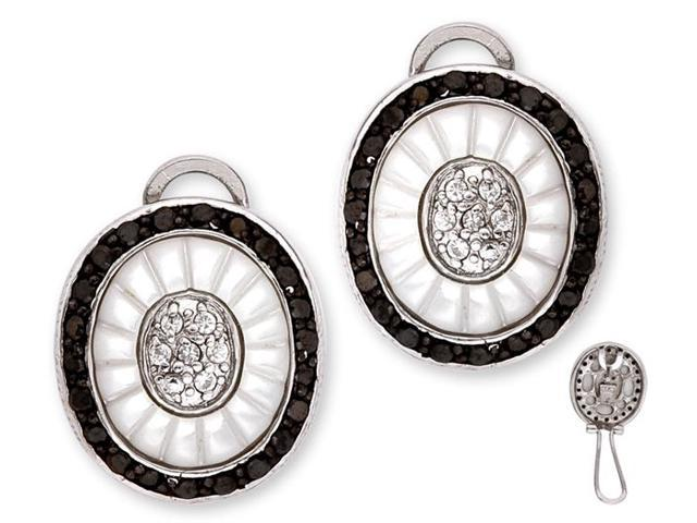 Dramatic Carved Mother-Of-Pearl C.Z. Black Clear Diamonds Oval Earrings