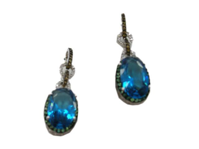 C.Z. (.925) S/S And Oval Multi Color Rhodium Plated Earrings