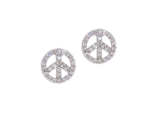 S/S Pave C.Z. Peace Sign Stud Earrings