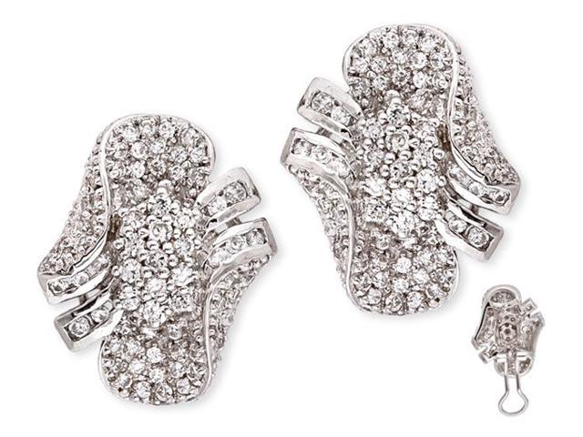 Pavé-Set C.Z. Diamond S/S Cluster Earrings