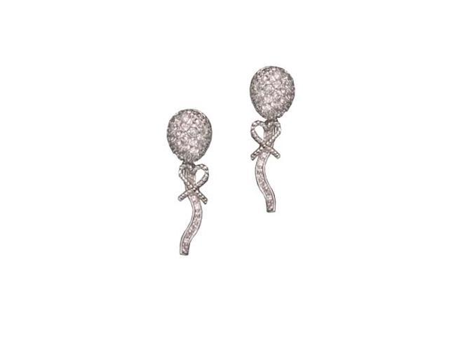 C.Z. Long Rhodium Plated (.925) S/S Earrings