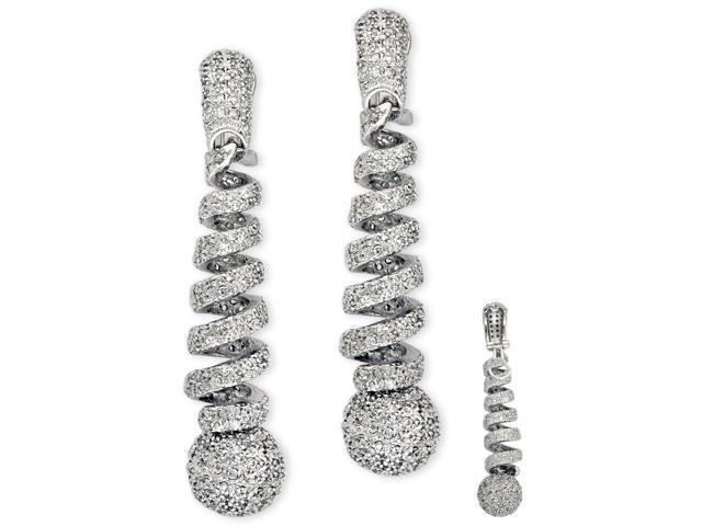 Cubic Zirconia Diamond Platinum Plated Brilliant Swirl Earrings