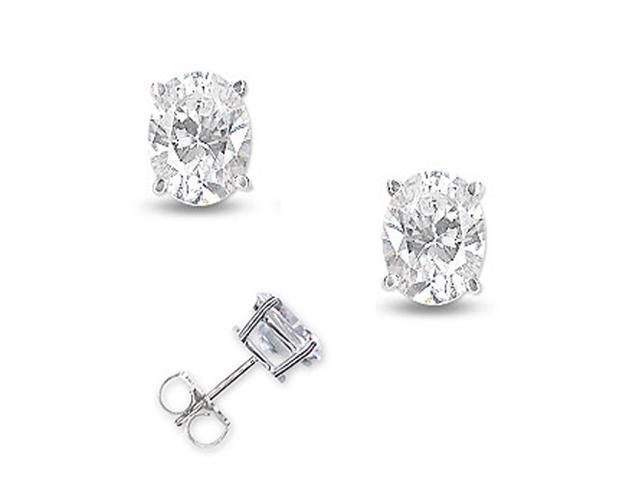 2Ct Tw Cubic Zirconia Diamond Oval Shape Basket Setting (.925) S/S Stud Earrings