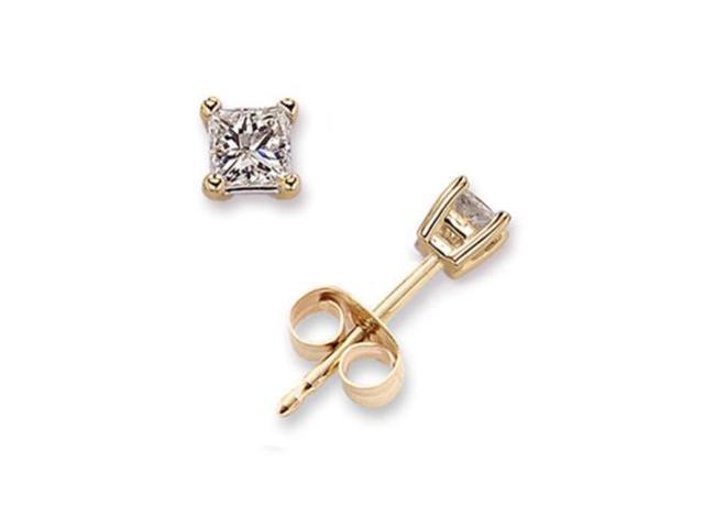 1 Ct Princess Cut C.Z. Diamond Stud Vermeil Plated Earring Bridal Silver Jewelry