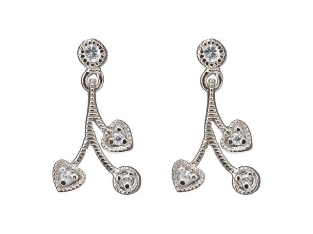 C.Z. Rhodium Heart And Round C.Z. Post (.925) S/S Earring