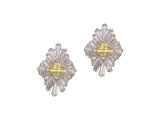 C.Z. And Yellow Citrine Clip Post Rhodium Plated (.925) S/S Earrings
