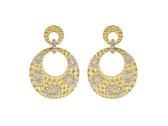 C.Z. Round Hammered Drop Vermeil Plated (.925) S/S Earrings
