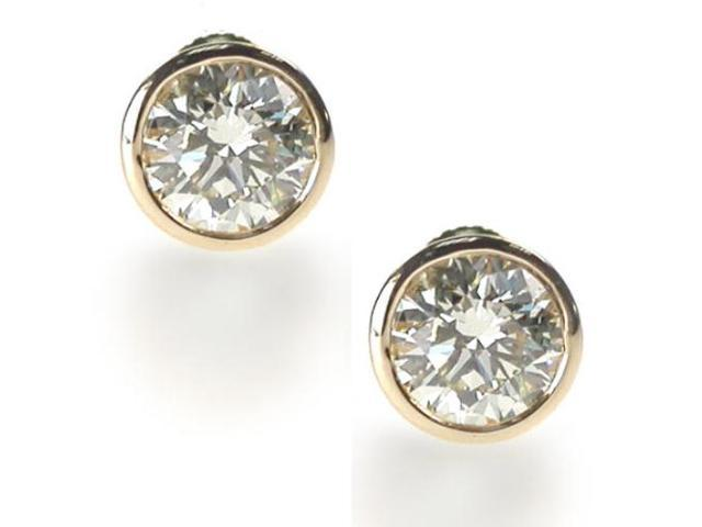 Clear 5Ct Tw C.Z. Bezel Set (.925) S/S Vermeil Plated Earring Studs