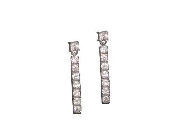 C.Z. Long Straight Rhodium Plated (.925) S/S Earrings