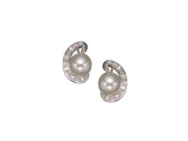 C.Z. White Pearl Rhodium Plated (.925) S/S Earrings