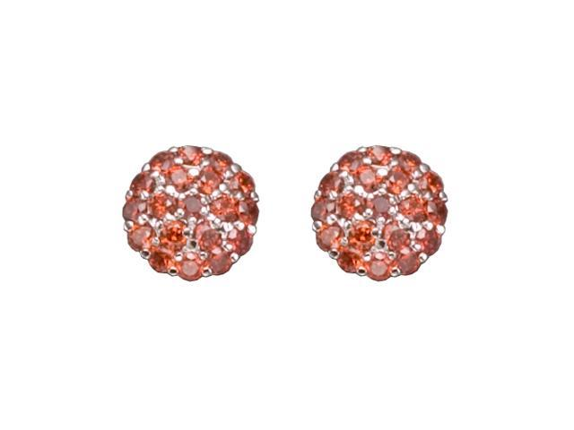 C.Z. Garnet Round Button Rhodium Plated (.925) S/S Earrings