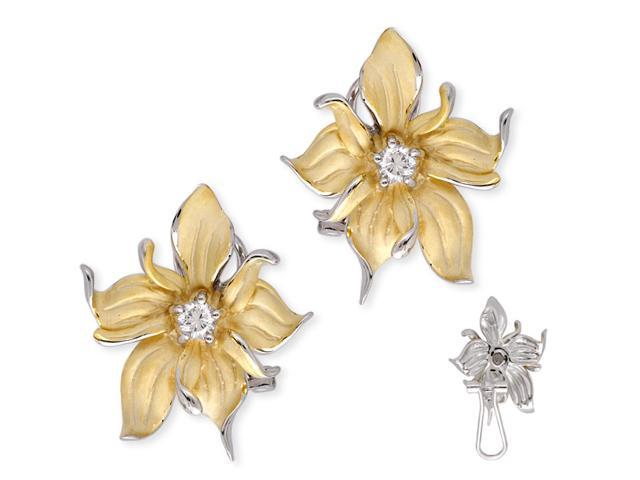 Satin Gold Vermeil Silver C.Z. Diamond Evening Flower Earrings