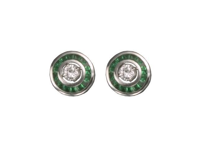 C.Z. Emerald Rhodium Plated (.925) S/S Earrings Jacket