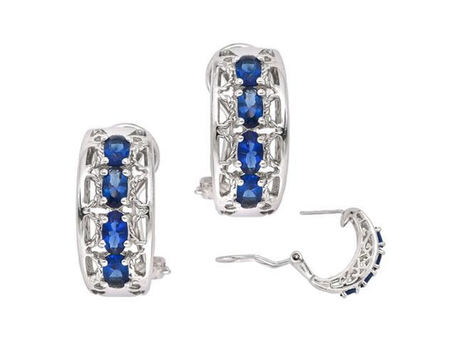 C.Z. (.925) S/S Sapphire Four Stone Rhodium Plated Earrings