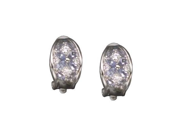 C.Z. And Lavender Clip Rhodium Plated (.925) S/S Earrings