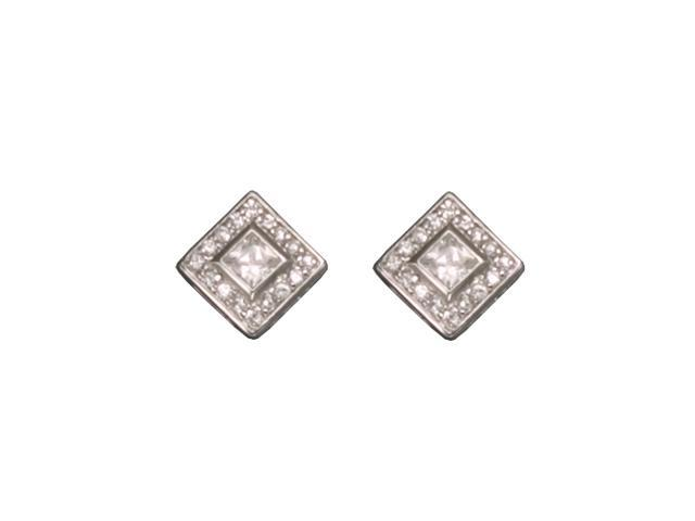 C.Z. Square Rhodium Plated (.925) S/S Earrings