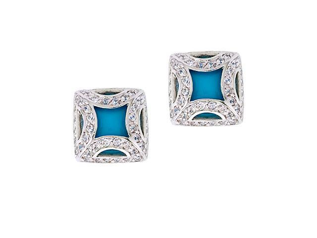 Fancy Frame Simulated Turquoise Silver Square Stud Earrings