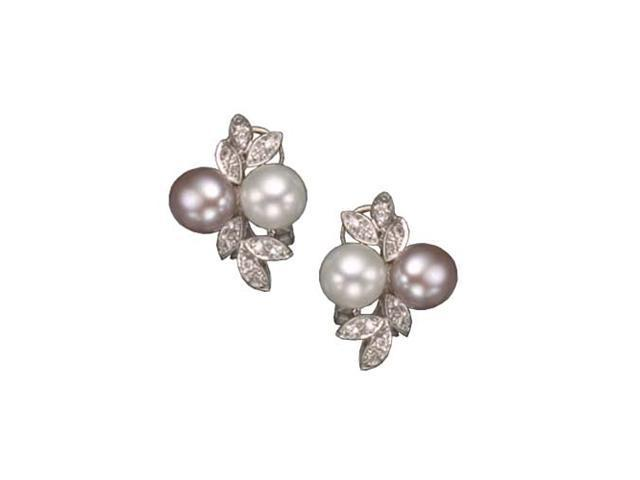 C.Z. White And Pink Pearl Rhodium Plated (.925) S/S Earrings