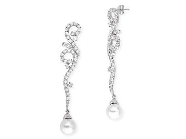 Swirling C.Z. Diamond Imitation Pearl Long Drop Bridesmaids Earrings